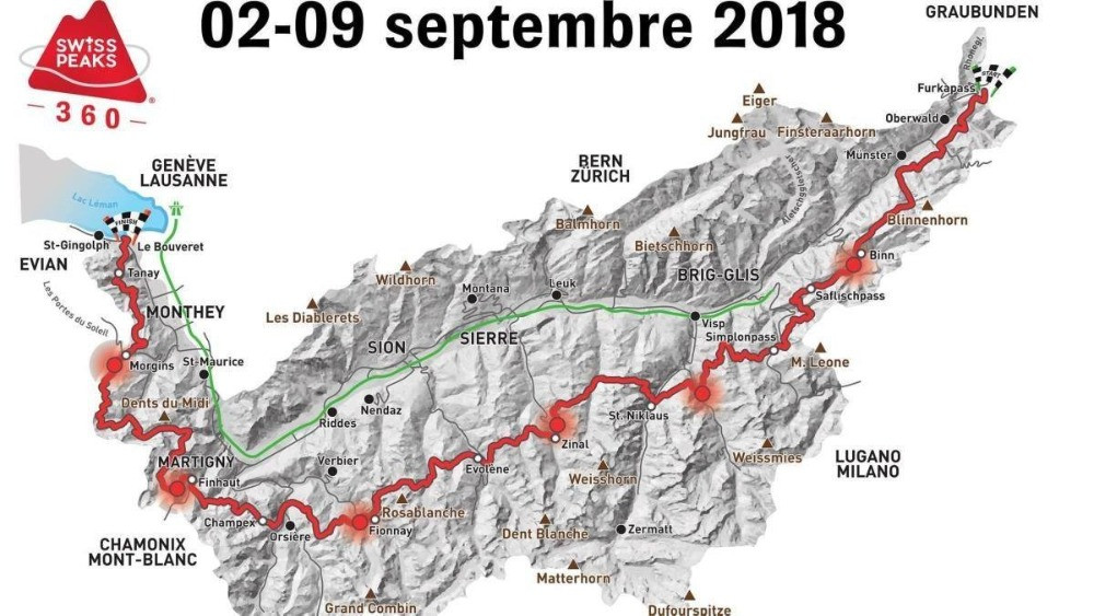 The Swiss Peaks 360km Trail route map