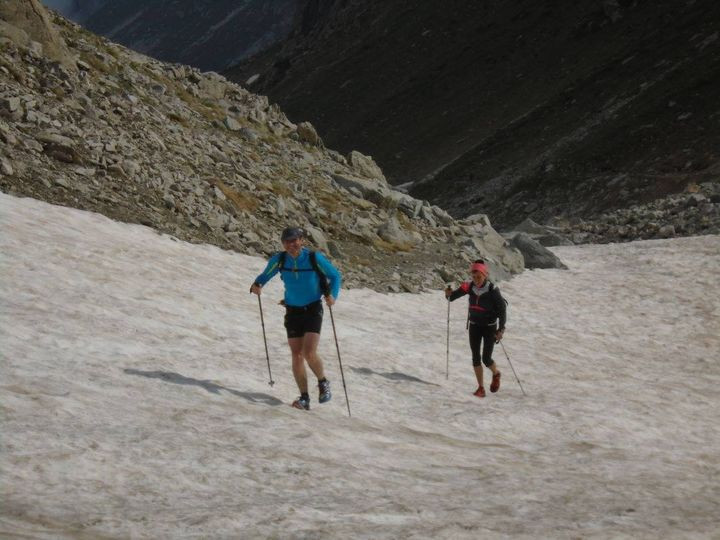 Speed Hiking up a snow field
