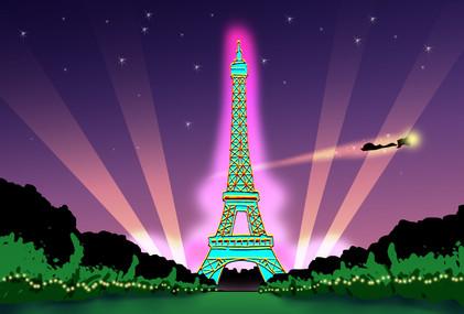 Jingles Flies over Paris, France