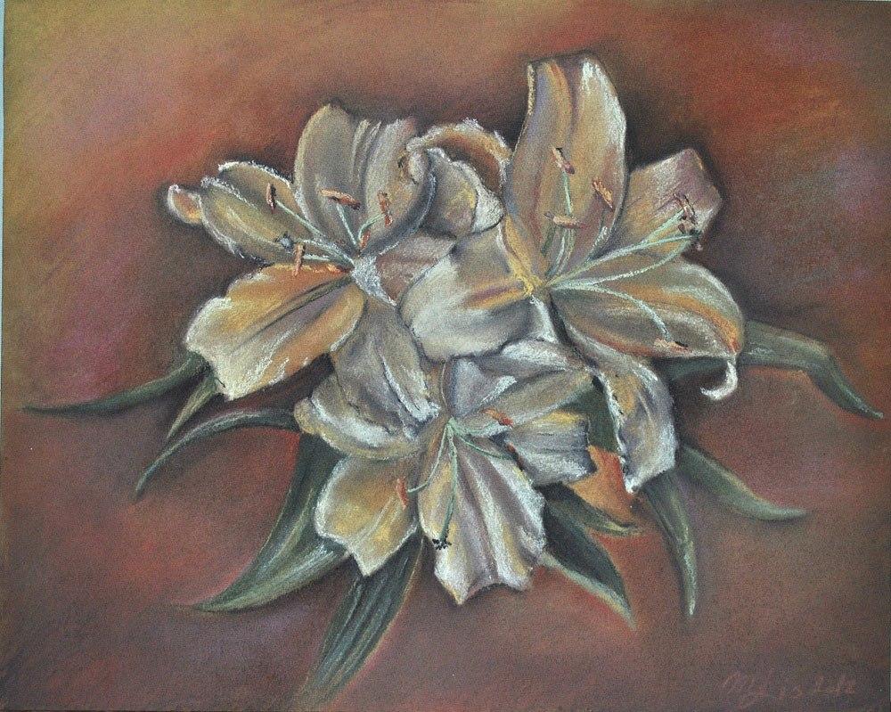 """""""Цветы лилии"""", бум. пастель, 2012 г."""