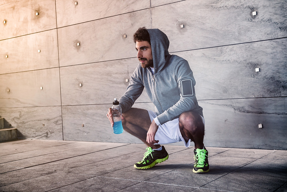 Athlete with a sports drink