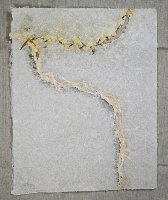 Yellow Flowers & Kozo in Linen