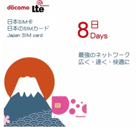 Docomo 日本8天4G無限上網數據卡