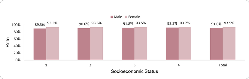 Documentation of GFR by socio-economic position (1-lowest, 4-highest) and sex