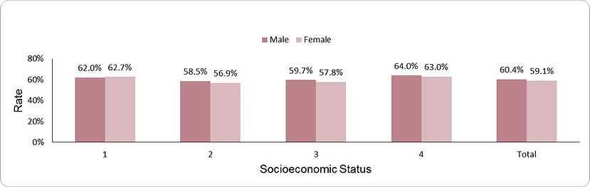 Influenza vaccination by socio-economic position (1-lowest, 4-highest)  and sex