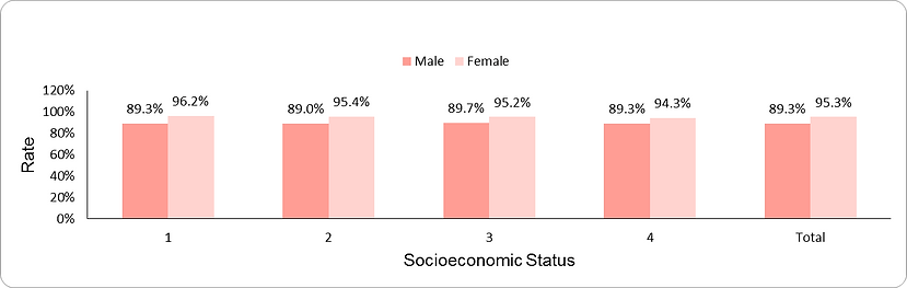 Documentation of blood pressure (ages 20-54 years) by socio-economic position (1-lowest, 4-highest) and sex