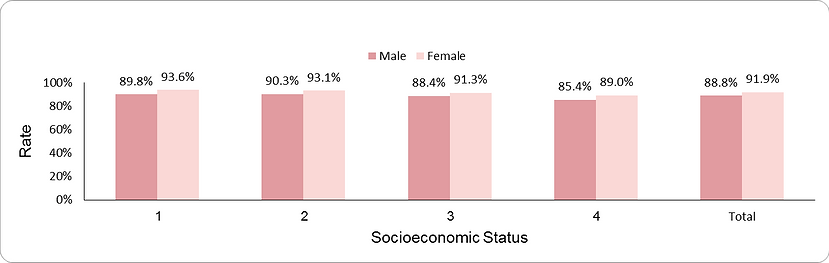Smoking status documentation by socio-economic position (1-lowest, 4-highest) and sex