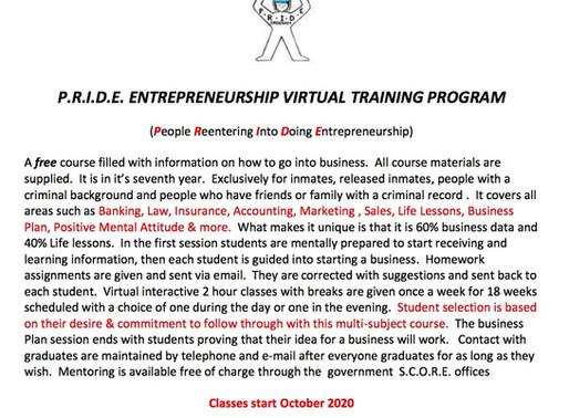 P.R.I.D.E. ENTREPRENEURSHIP VIRTUAL TRAINING PROGRAM