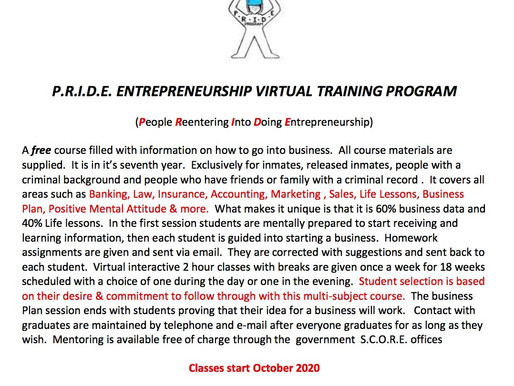 P.R.I.D.E. ENTREPRENEURSHIP VIRTUAL TRAINING PROGRAM