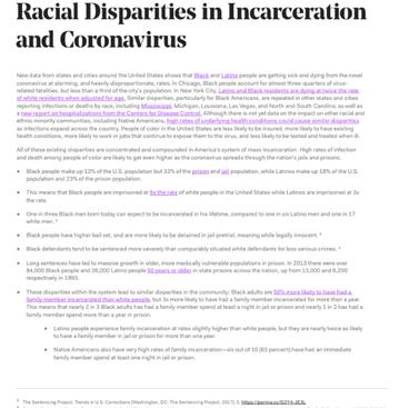 Racial Disparities In Incarceration and Coronavirus
