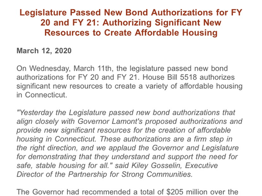 Legislature Passed New Bond Authorizations for FY 20 and FY 21