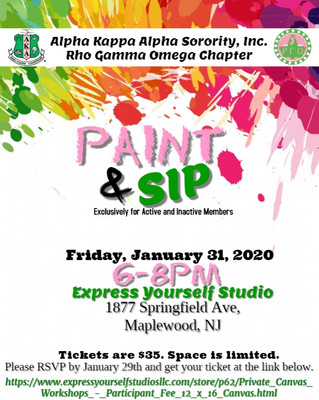 Calling All Sorors! Join RGO for a Paint & Sip