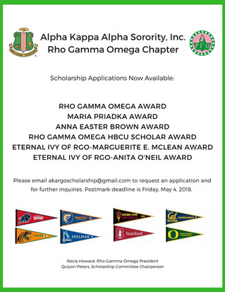 Rho Gamma Omega Scholarships Available Now!