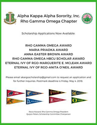 Rho Gamma Omega Scholarships Available Now!