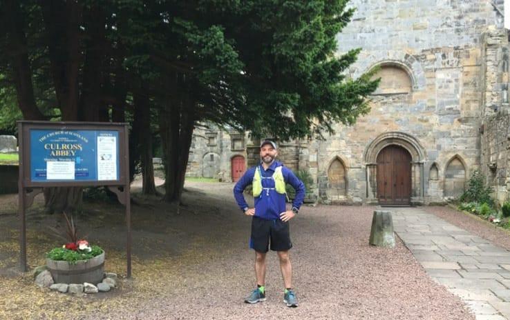 Mark is ready to begin ultramarathon 9 from Culross Abbey.