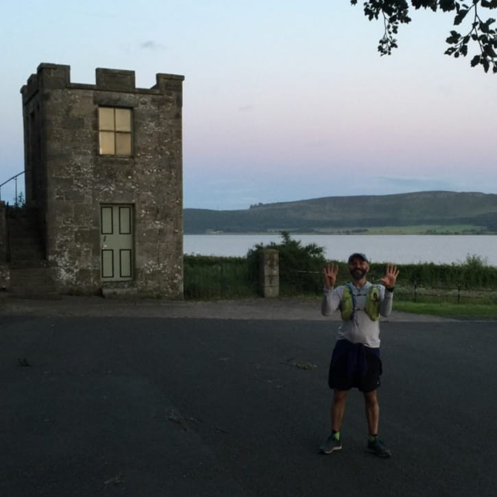 Mark arrived at Kinross, overlooking Loch Leven having run 61 miles in one day.