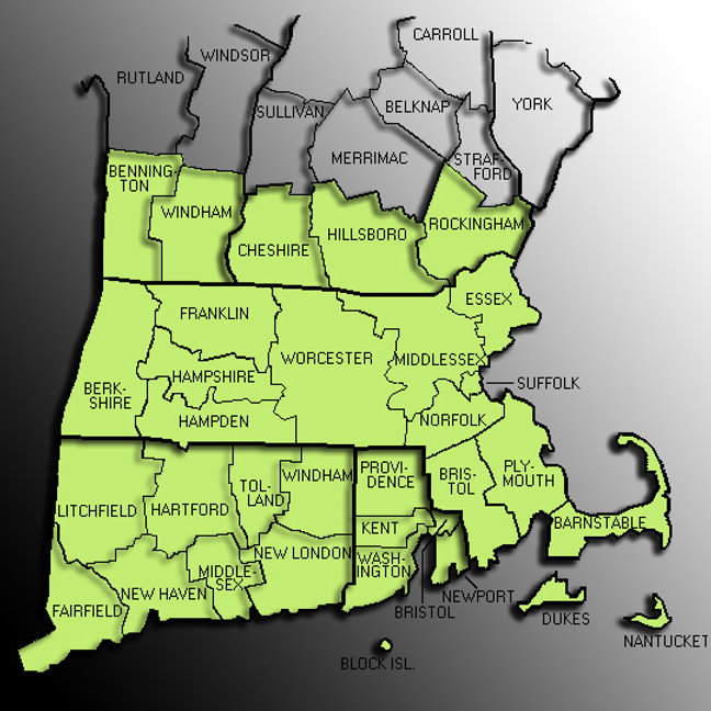 Caliber Claims Independent Adjuster Massachusetts Territory Map