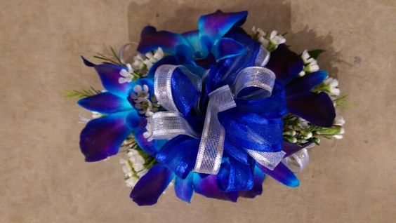 blue wrist corsage