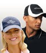 Link to the Caps page - Image of a Man and a lady wearing custom embroidered caps - Miami Promo Shirts