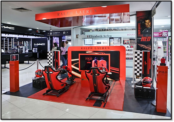 Promotional exhibit with retailtainment for Polo Red
