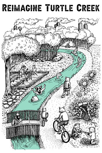 ReImagine Turtle Creek illustration by Bri Barton and Meg Lemieur