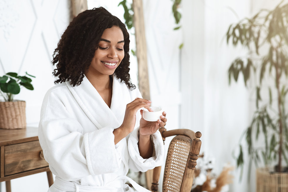 Skin Care Routine. Beautiful Black Girl