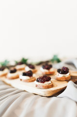 Blackberry Compote with Melted Brie on Crostini with Lemon Zest