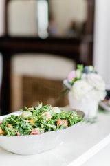 Melon, Prosciutto, and Arugula Salad with Champagne Vinaigrette and Toasted Almonds