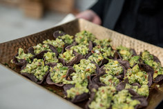 Crab and Avocado Salad in Blue Corn Tortilla Chip Cups