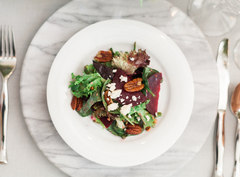 Red Beet and Asparagus Salad with Stilton Cheese and Roasted Pecans