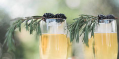 Sparkling Wine with Blackberry and Rosemary Garnish