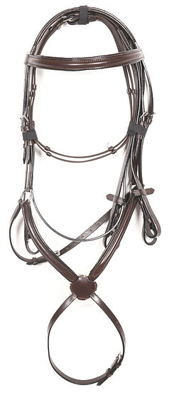 LEATHER GRACKLE BRIDLE BROWN SOFT PADDED