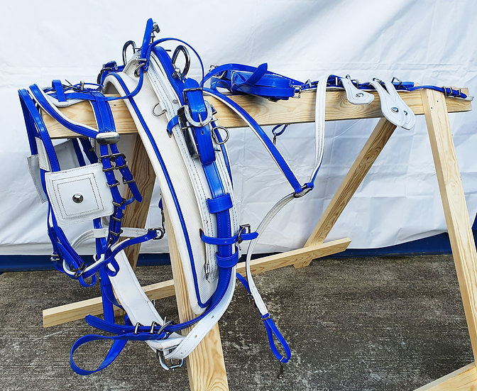 ULTRA BIOTHANE QUICK HITCH DRIVING HARNESS BLUE-WHITE