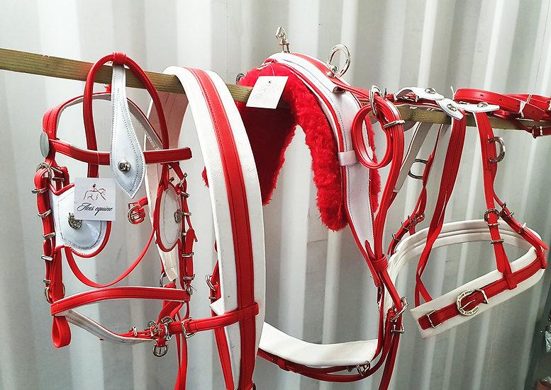 BIOTHANE BREECHING TIEDOWN HARNESS RED/WHITE