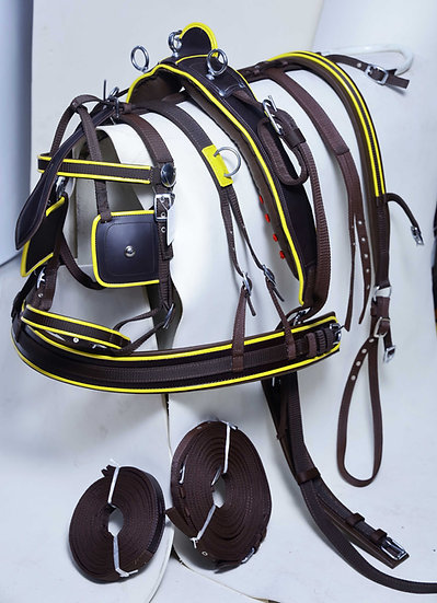 Nylon Cart Driving Harness For Horse Brown Yellow Color