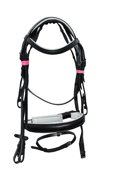 """EUROPA COMFORT BRIDLE FULLY PADDED 1"""" BROWBAND AND 1.5"""" NOSEBAND BLACK AND BROWN"""