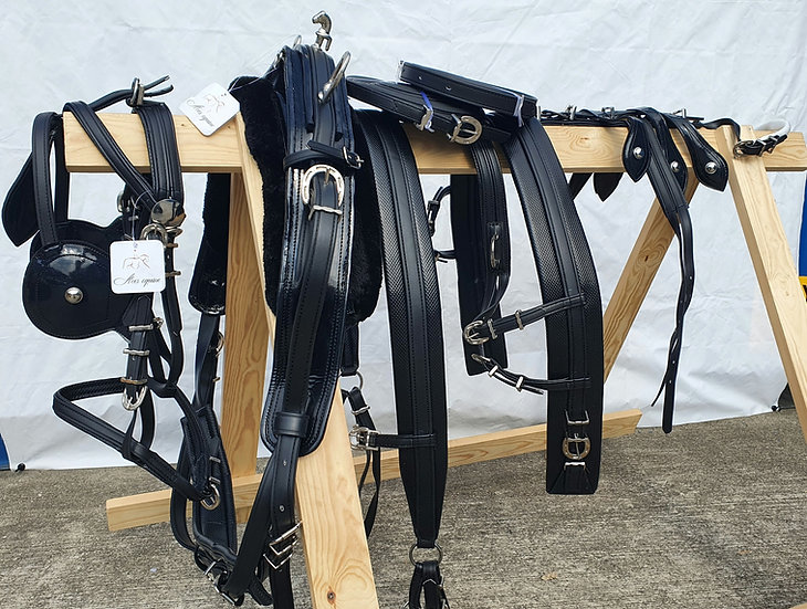 Biothane tie-down driving harness Black heavy duty