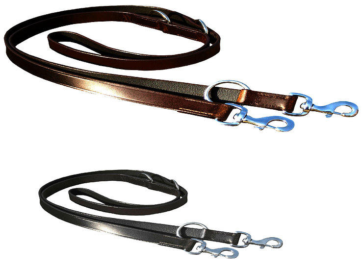 "LEATHER POLICE STYLE DOG TRAINING LEAD BLACK & BROWN 3/4""WIDE"