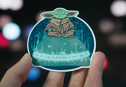 Meditating Grogu Vinyl Sticker