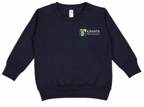 Toddler Crewneck Navy Blue Embroidered