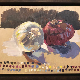 40-minute timed painting, onions
