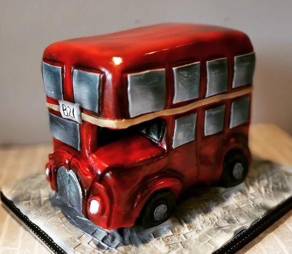 double decker red london bus birthday party celebration cake billingshurst