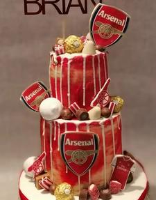 arsenal drip birthday party celebration cake billingshurst