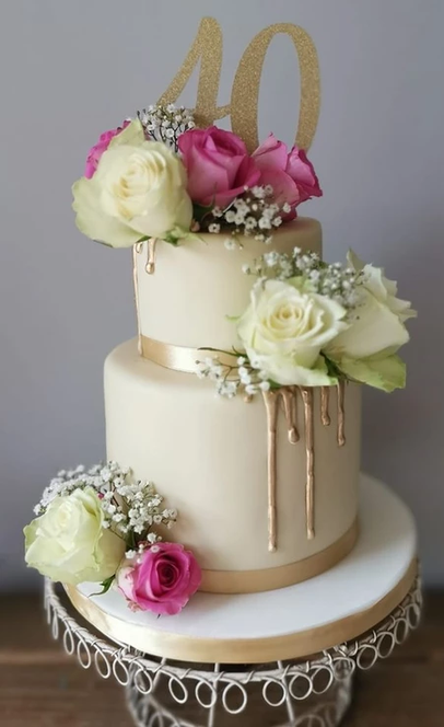flower drip birthday party celebration cake billingshurst