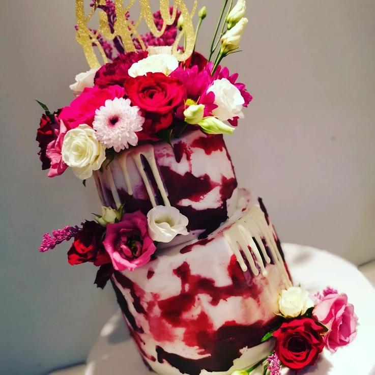 blood flower drip birthday party celebration cake billingshurst