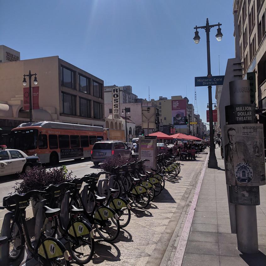 LA's Metro Bike Share racks outside of Grand Central Market