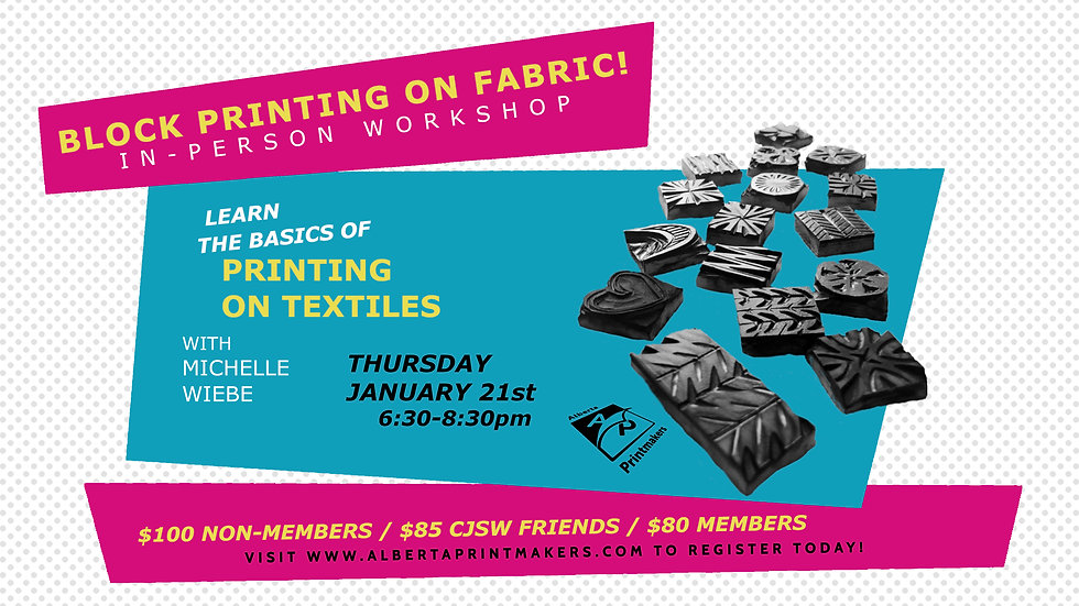 Block Printing On Fabric (In Person) - January 21st