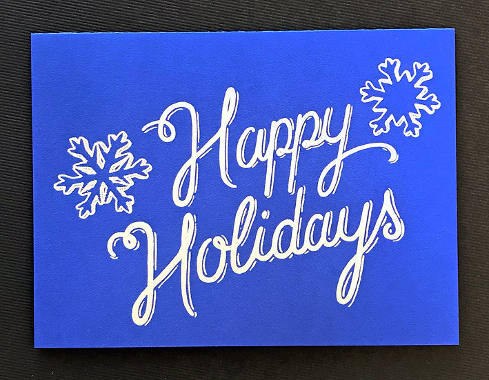 Happy Holidays (blue) Holiday Card