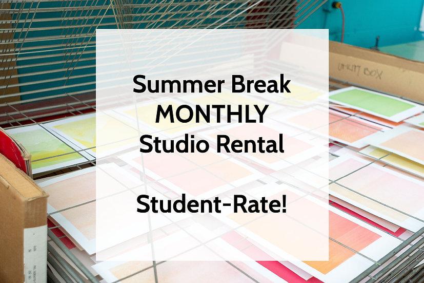 SUMMER BREAK MONTHLY STUDIO RENTAL FOR STUDENTS!
