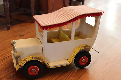 White Tin Car with Red Roof